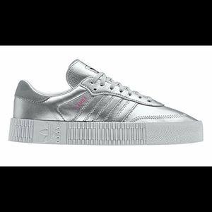 Silver Adidas SAMBAROSE Sneakers sz 7